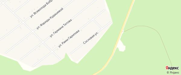 Сосновая улица на карте села Абызово Башкортостана с номерами домов