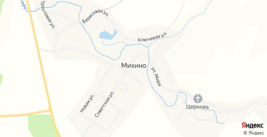 Карта деревни Михино в Пермском крае с улицами, домами и почтовыми отделениями со спутника онлайн