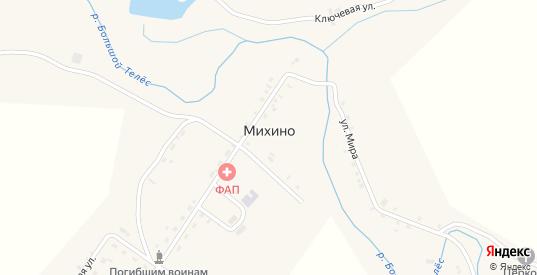 Ключевая улица в деревне Михино в Пермском крае с номерами домов на карте. Спутник и схема онлайн