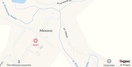 Улица Мира в деревне Михино в Пермском крае с номерами домов на карте. Спутник и схема онлайн