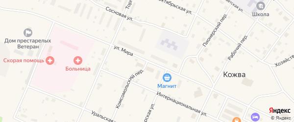 Комсомольский переулок на карте поселка Кожвы с номерами домов
