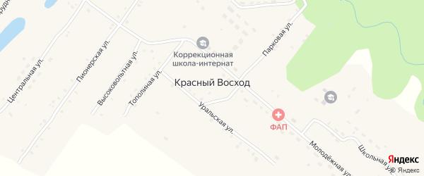 Парковая улица на карте села Красного Восхода с номерами домов