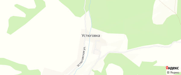 Карта деревни Устюговки в Башкортостане с улицами и номерами домов