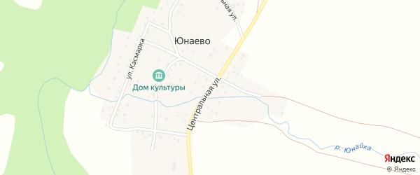 Центральная улица на карте деревни Юнаево Башкортостана с номерами домов