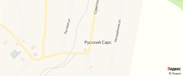 Советская улица на карте села Русского Сарса Пермского края с номерами домов