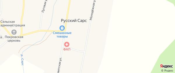 Молодежная улица на карте села Русского Сарса Пермского края с номерами домов