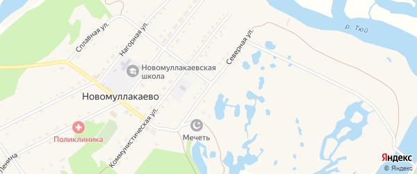 Северная улица на карте села Новомуллакаево Башкортостана с номерами домов