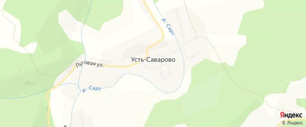 Карта деревни Усть-Саварово в Пермском крае с улицами и номерами домов