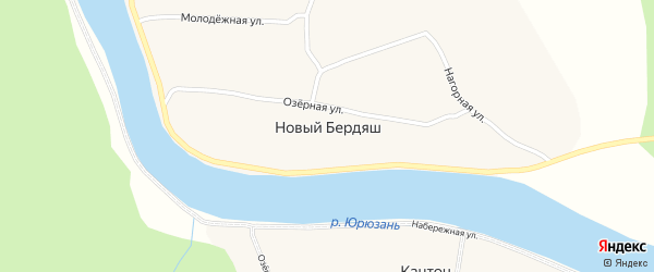 Цветочная улица на карте деревни Нового Бердяша Башкортостана с номерами домов