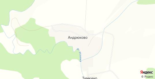 Карта деревни Андрюково в Чусовом с улицами, домами и почтовыми отделениями со спутника онлайн