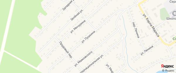 Улица Пушкина на карте Октябрьского поселка Пермского края с номерами домов