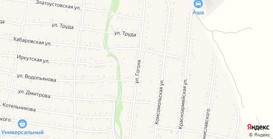 Улица Гоголя в Аше с номерами домов на карте. Спутник и схема онлайн
