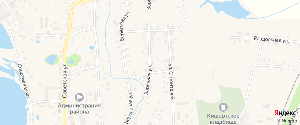 Заречная улица на карте села Усть-Кишерть Пермского края с номерами домов