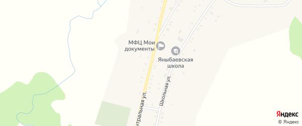 Центральная улица на карте деревни Яныбаево Башкортостана с номерами домов