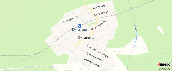 Карта поселка Кутамыша города Чусового в Пермском крае с улицами и номерами домов