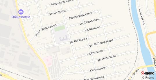 Улица Лебедева в Аше с номерами домов на карте. Спутник и схема онлайн