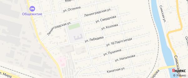 Улица Лебедева на карте Аши с номерами домов