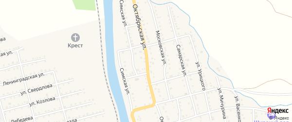 Октябрьская улица на карте Аши с номерами домов