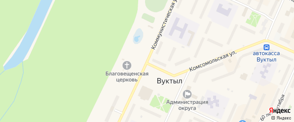 Коммунистическая улица на карте Вуктыла с номерами домов