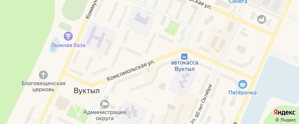 Комсомольская улица на карте Вуктыла с номерами домов