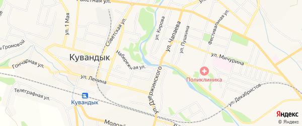 Карта Дорстроя поселка города Кувандыка в Оренбургской области с улицами и номерами домов