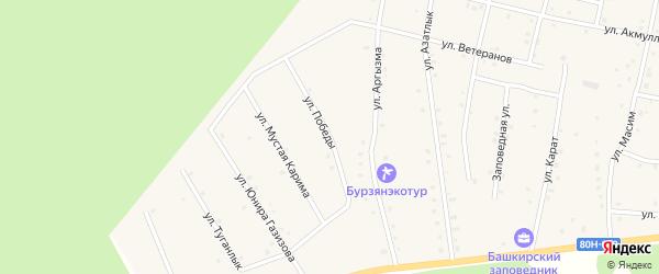 Улица Победы на карте села Старосубхангулово Башкортостана с номерами домов