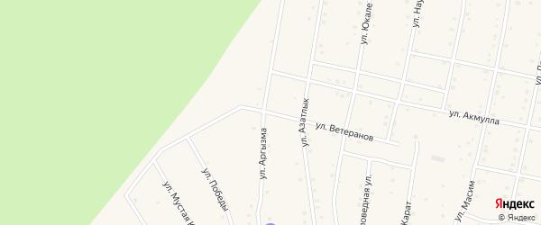 Улица Ветеранов на карте села Старосубхангулово Башкортостана с номерами домов