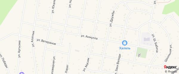 Улица Акмулла на карте села Старосубхангулово Башкортостана с номерами домов