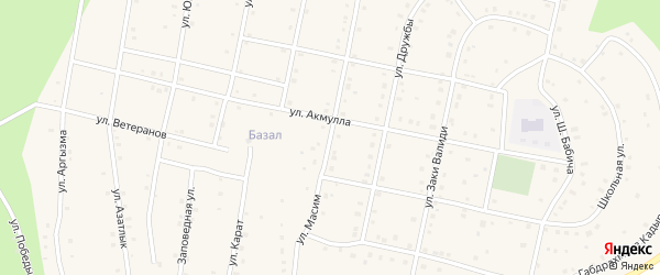 Улица Масим на карте села Старосубхангулово Башкортостана с номерами домов