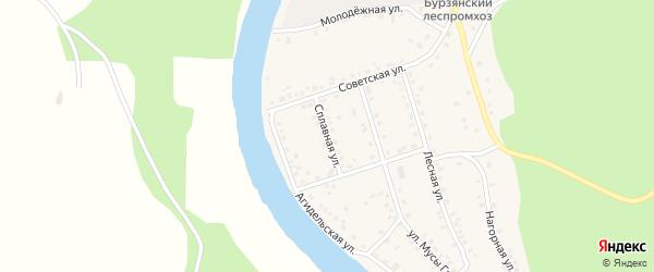Сплавная улица на карте села Старосубхангулово Башкортостана с номерами домов
