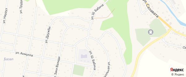 Школьная улица на карте села Старосубхангулово Башкортостана с номерами домов