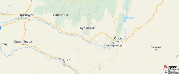 Карта Кувандыкского района Оренбургской области с городами и населенными пунктами