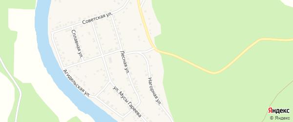 Нагорная улица на карте села Старосубхангулово Башкортостана с номерами домов