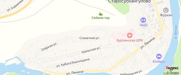 Солнечная улица на карте села Старосубхангулово Башкортостана с номерами домов