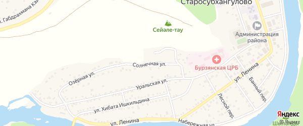 Солнечная улица на карте Агидели с номерами домов