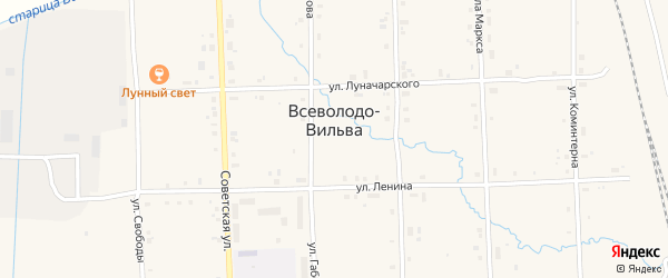 СНТ Коллективный сад 2 на карте поселка Всеволодо-Вильвы с номерами домов