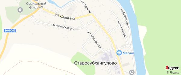 Кирпичный переулок на карте села Старосубхангулово Башкортостана с номерами домов