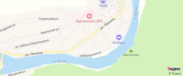 Лесной переулок на карте села Старосубхангулово Башкортостана с номерами домов