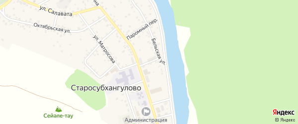 Пионерский переулок на карте села Старосубхангулово с номерами домов