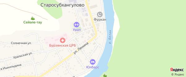 Набережная улица на карте села Старосубхангулово Башкортостана с номерами домов