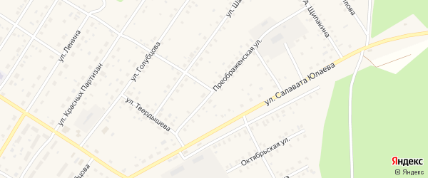 Преображенская улица на карте села Зилаир с номерами домов