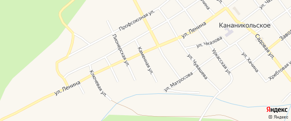 Каменная улица на карте Кананикольского села с номерами домов