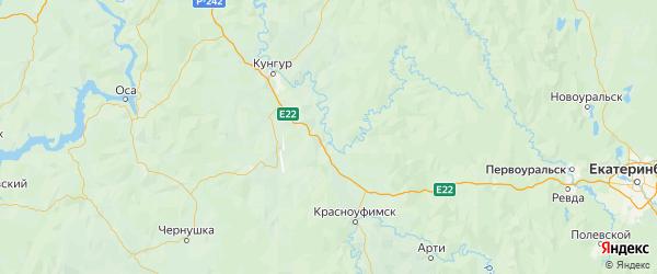 Карта Суксунского района Пермского края с городами и населенными пунктами