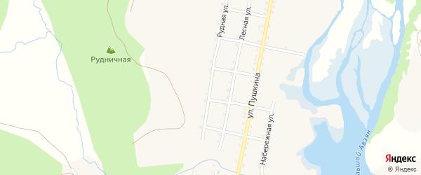Рудная улица на карте села Верхнего Авзяна с номерами домов