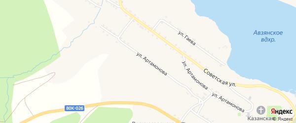 Улица Артамонова на карте села Верхнего Авзяна с номерами домов