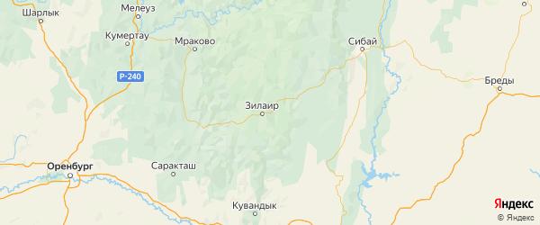 Карта Зилаирского района Республики Башкортостана с городами и населенными пунктами