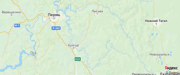 Карта Березовского района Пермского края с городами и населенными пунктами