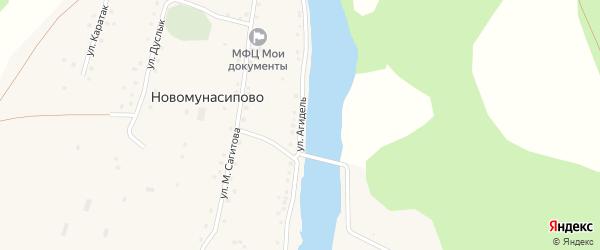 Улица Агидель на карте деревни Новомунасипово Башкортостана с номерами домов