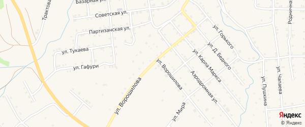 Улица Ворошилова на карте села Инзера с номерами домов