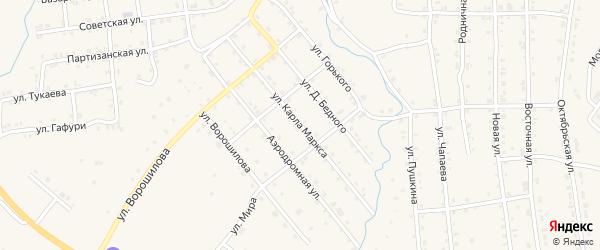 Улица К.Маркса на карте села Инзера с номерами домов